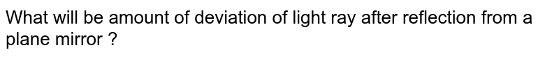 What will be amount of deviation of light ray after reflection from a plane mirror ?