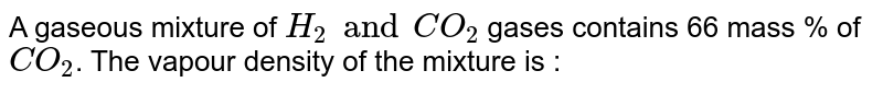 A gaseous mixture of `H_2 and CO_2` gases contains 66 mass % of `CO_2`. The vapour density of the mixture is :