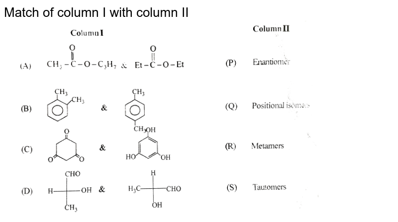 """Match of column I with column II <br> <img src=""""https://d10lpgp6xz60nq.cloudfront.net/physics_images/BSL_CHM_ISO_E01_142_Q01.png"""" width=""""80%"""">"""