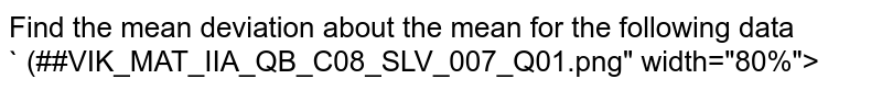 """Find the mean deviation about the mean  for the following data <br> ` (##VIK_MAT_IIA_QB_C08_SLV_007_Q01.png"""" width=""""80%"""">"""