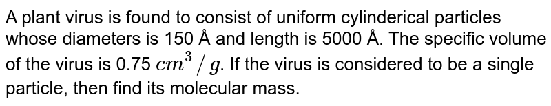 A plant virus is found to consist of uniform cylinderical particles whose diameters is 150