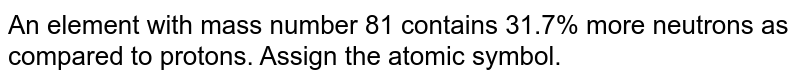 An element with mass number 81 contains 31.7% more neutrons as compared to protons. Assign the atomic symbol.