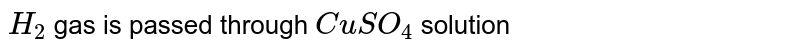 `H_(2)` gas is passed through `CuSO_(4)` solution