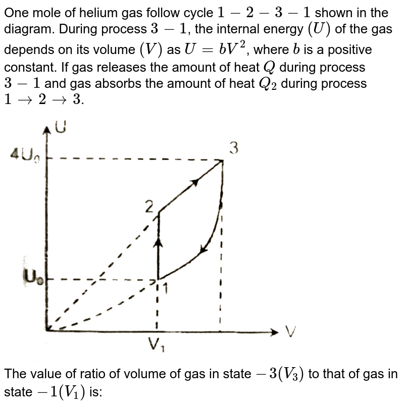 """One mole of helium gas follow cycle `1-2-3-1` shown in the diagram. During process `3-1`, the internal energy `(U)` of the gas depends on its volume `(V)` as `U=bV^(2)`, where `b` is a positive constant. If gas releases the amount of heat `Q` during process `3-1` and gas absorbs the amount of heat `Q_(2)` during process `1rarr2rarr3`. <img src=""""https://d10lpgp6xz60nq.cloudfront.net/physics_images/RES_P20_16_MT_E01_033_Q01.png"""" width=""""80%""""> <br> The value of ratio of volume of gas in state `-3(V_(3))` to that of gas in state `-1(V_(1))` is:"""