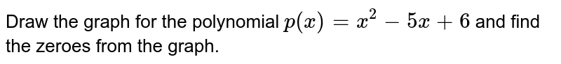 Draw the graph for the polynomial `p(x) = x^(2) - 5x +6` and find the zeroes from the graph.