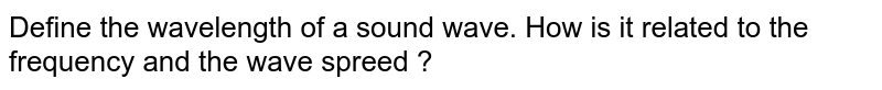 Define the wavelength of a sound wave. How is it related to the frequency and the wave spreed ?