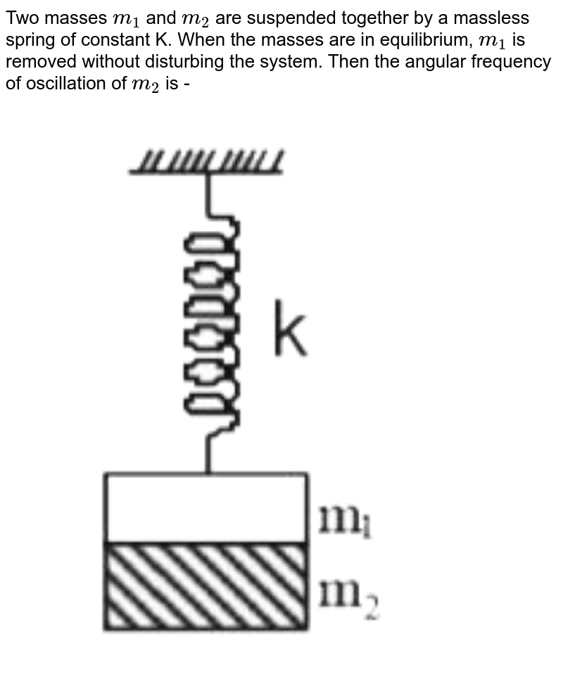 Two masses `m_(1)and M_(2)` are suspended together by a massless spring of constant k. When the masses are in equilibrium,`m_(1)`is removed without disturbing the system. Then the angular frequency of oscillation of`m_(2)` is