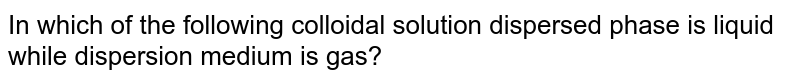 In which of the following colloidal solution dispersed phase is liquid while dispersion medium is gas?