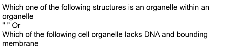 """Which one of the following structures is an organelle within an organelle <br> """"                                               """" Or <br> Which of the following cell organelle lacks DNA and bounding membrane"""