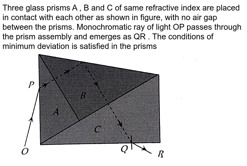 """Three glass prisms A , B and C of same refractive index are placed in contact with each other as shown in figure, with no air gap between the prisms. Monochromatic ray of light OP passes through the prism assembly and emerges as QR . The conditions of minimum deviation is satisfied in the prisms <br> <img src=""""https://d10lpgp6xz60nq.cloudfront.net/physics_images/ERRL_PHY_NEET_V02_C29_E01_429_Q01.png"""" width=""""80%"""">"""