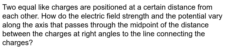 Two equal like charges are positioned at a certain distance from each other. How do the electric field strength and the potential vary along the axis that passes  through the midpoint of the distance between the charges at right angles to the line connecting the charges?