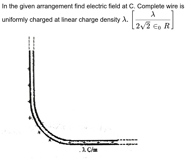 """In the given arrangement find electric field at C. Complete wire is uniformly charged at linear charge density `lambda. [(lambda)/(2sqrt(2)in_(0)R)]` <br> <img src=""""https://d10lpgp6xz60nq.cloudfront.net/physics_images/GAL_PHY_V03A_ECA_C01_E01_124_Q01.png"""" width=""""80%"""">"""