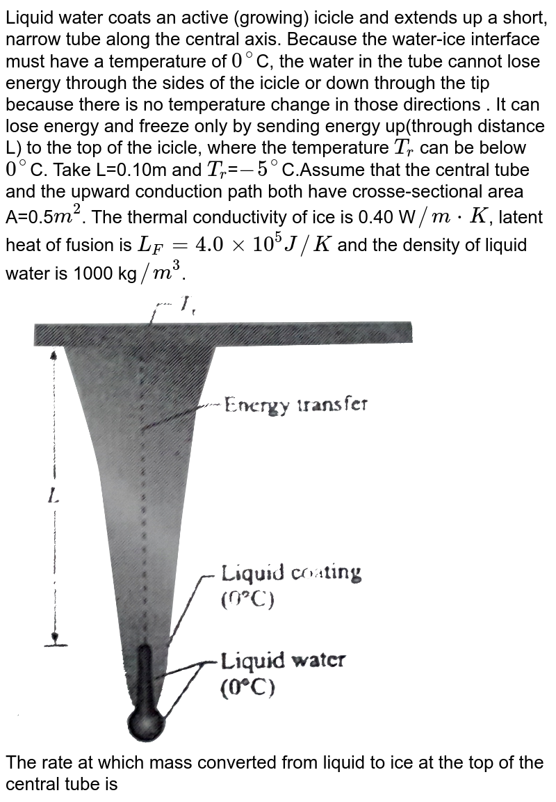 """Liquid water coats an active (growing) icicle and extends up a short, narrow tube along the central axis. Because the water-ice interface must have a temperature of `0^(@)`C, the water in the tube cannot lose energy through the sides of the icicle or down through the tip because there is no temperature change in those directions . It can lose energy and freeze only by sending energy up(through distance L) to the top of the icicle, where the temperature `T_(r)` can be below `0^(@)`C. Take L=0.10m and `T_(r)`=`-5^(@)`C.Assume that the central tube and the upward conduction path both have crosse-sectional area A=0.5`m^(2)`. The thermal conductivity of ice is 0.40 W`//mcdotK`, latent heat of fusion is `L_(F)=4.0xx10^(5) J//K` and the density of liquid water is 1000 kg`//m^(3)`. <br> <img src=""""https://d10lpgp6xz60nq.cloudfront.net/physics_images/BMS_PHY_WAT_DPP2_1_E01_013_Q01.png"""" width=""""80%""""> <br> The rate at which mass converted from liquid to ice at the top of the central tube is"""