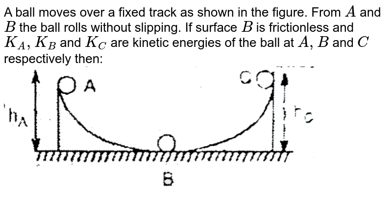 """A ball moves over a fixed track as shown in the figure. From `A` and `B` the ball rolls without slipping. If surface `B` is frictionless and `K_(A),K_(B)` and `K_(C)` are kinetic energies of the ball at `A,B` and `C` respectively then: <br> <img src=""""https://d10lpgp6xz60nq.cloudfront.net/physics_images/EAM_MEC_V01_C05_E01_124_Q01.png"""" width=""""80%"""">"""