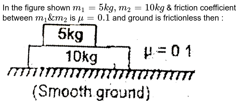 """In the figure shown `m_(1)=5 kg,m_(2) = 10 kg` & friction coefficient between `m_(1) & m_(2)` is `mu=0.1` and ground is frictionless then : <br> <img src=""""https://d10lpgp6xz60nq.cloudfront.net/physics_images/EAM_MEC_V01_C02_E01_131_Q01.png"""" width=""""80%"""">"""