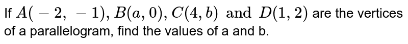 If `A(-2, -1), B(a, 0), C(4, b) and D(1, 2)` are the vertices of a parallelogram, find the values of a and b.