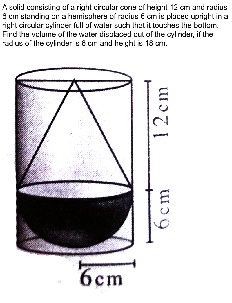 """A solid consisting of a right circular cone of height 12 cm and radius 6 cm standing on a hemisphere of radius 6 cm is placed upright in a right circular cylinder full of water such that it touches the bottom. Find the volume of the water displaced out of the cylinder, if the radius of the cylinder is 6 cm and height is 18 cm. <br> <img src=""""https://d10lpgp6xz60nq.cloudfront.net/physics_images/SUR_MAT_X_C07_E03_004_Q01.png"""" width=""""80%"""">"""