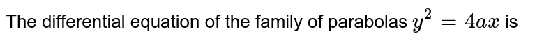The differential equation of the family of parabolas `y^(2)=4ax` is
