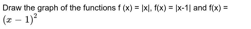 Draw the graph of the functions f (x) =  x , f(x) =  x-1  and f(x) = `(x-1)^2`