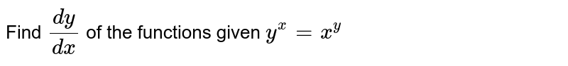 Find `(dy)/(dx)` of   the functions given `y^x=x^y`