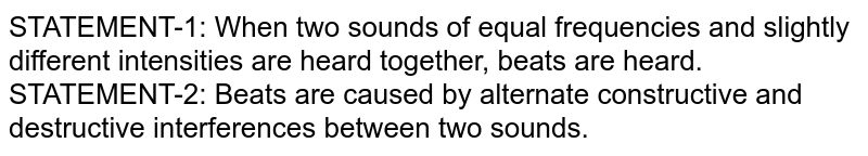 STATEMENT-1: When two sounds of equal frequencies and slightly different intensities are heard together, beats are heard. <br> STATEMENT-2: Beats are caused by alternate constructive and destructive interferences between two sounds.