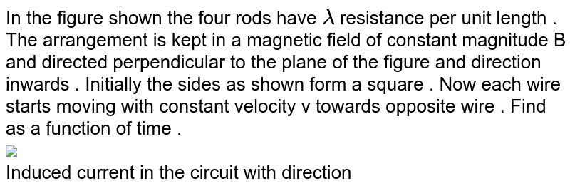 """In the figure shown the four rods have `lambda` resistance per unit length . The arrangement is kept in a magnetic field of constant magnitude B and directed perpendicular to the plane of the figure and direction inwards . Initially the sides as shown form a square . Now each wire starts moving with constant velocity v towards opposite wire . Find as a function of time . <br> <img src=""""https://d10lpgp6xz60nq.cloudfront.net/physics_images/DPP_PHY_MEI_3_3_E01_197_Q01.png"""" width=""""80%""""> <br> Induced current in the circuit with direction"""