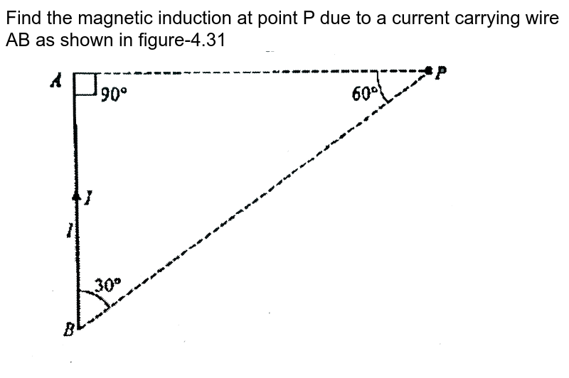 """Find the magnetic induction at point P due to a current carrying wire AB as shown in figure-4.31  <br> <img src=""""https://d10lpgp6xz60nq.cloudfront.net/physics_images/GAL_PHY_V03B_MEAC_C04_E01_005_Q01.png"""" width=""""80%"""">"""