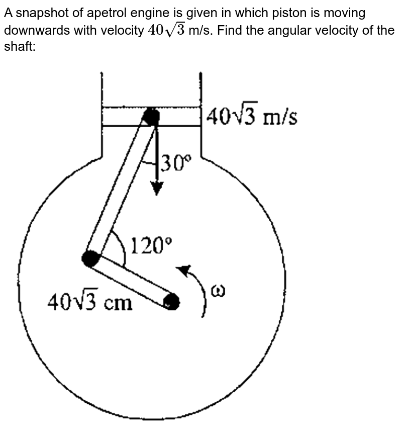 """A snapshot of apetrol engine is given in which piston is moving downwards with velocity `40sqrt(3)` m/s. Find the angular velocity of the shaft: <br> <img src=""""https://d10lpgp6xz60nq.cloudfront.net/physics_images/GAL_PHY_MEC_V01_C01_E01_247_Q01.png"""" width=""""80%"""">"""