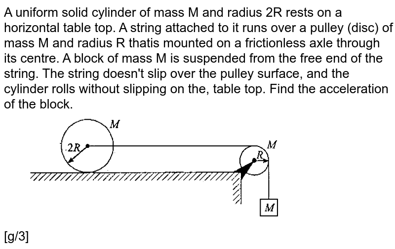 """A uniform solid cylinder of mass M and radius 2R rests on a horizontal table top. A string attached to it runs over a pulley (disc) of mass M and radius R thatis mounted on a frictionless axle through its centre. A block of mass M is suspended from the free end of the string. The string doesn't slip over the pulley surface, and the cylinder rolls without slipping on the, table top. Find the acceleration of the block. <br> <img src=""""https://d10lpgp6xz60nq.cloudfront.net/physics_images/GAL_PHY_MEC_V01_C05_E01_017_Q01.png"""" width=""""80%""""> <br> [g/3]"""