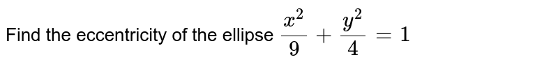 Find the eccentricity of the ellipse `(x^2)/(9)+(y^2)/(4)=1`