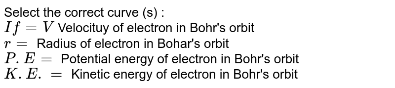 Select the correct curve (s) : <br> `If = V` Velocituy of electron in Bohr's orbit <br> `r=` Radius of electron in Bohar's orbit <br> `P.E =` Potential energy of electron in Bohr's orbit <br> `K.E. =` Kinetic energy of electron in Bohr's orbit