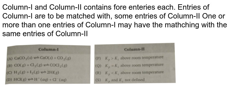 """Column-I and Column-II contains fore enteries each. Entries of Column-I are to be matched with, some entries of Column-II One or more than one entries of Column-I may have the mathching with the same entries of Column-II <br> <img src=""""https://d10lpgp6xz60nq.cloudfront.net/physics_images/NRA_PHY_CHM_JMA_C05_E01_176_Q01.png"""" width=""""80%"""">"""