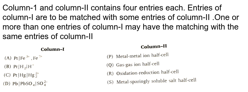 """Column-1 and column-II contains four entries each. Entries of column-I are to be matched with some entries of column-II .One or more than one entries of column-I may have the matching with the same entries of column-II <br> <img src=""""https://d10lpgp6xz60nq.cloudfront.net/physics_images/NRA_PHY_CHM_JMA_C08_E01_220_Q01.png"""" width=""""80%"""">"""
