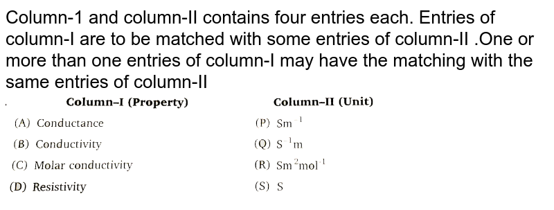 """Column-1 and column-II contains four entries each. Entries of column-I are to be matched with some entries of column-II .One or more than one entries of column-I may have the matching with the same entries of column-II <br> <img src=""""https://d10lpgp6xz60nq.cloudfront.net/physics_images/NRA_PHY_CHM_JMA_C08_E01_221_Q01.png"""" width=""""80%"""">"""