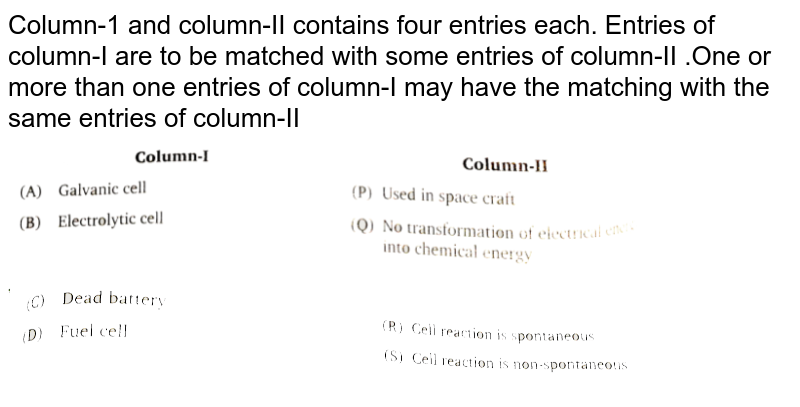 """Column-1 and column-II contains four entries each. Entries of column-I are to be matched with some entries of column-II .One or more than one entries of column-I may have the matching with the same entries of column-II <br><img src=""""https://d10lpgp6xz60nq.cloudfront.net/physics_images/NRA_PHY_CHM_JMA_C08_E01_223_Q01.png"""" width=""""80%""""> <img src=""""https://d10lpgp6xz60nq.cloudfront.net/physics_images/NRA_PHY_CHM_JMA_C08_E01_223_Q02.png"""" width=""""80%"""">"""