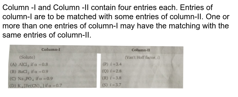"""Column -I and Column -II contain four entries each. Entries of column-I are to be matched with some entries of column-II. One or more than one entries of column-I may have the matching with the same entries of column-II. <img src=""""https://d10lpgp6xz60nq.cloudfront.net/physics_images/NRA_PHY_CHM_JMA_C09_E01_177_Q01.png"""" width=""""80%"""">"""