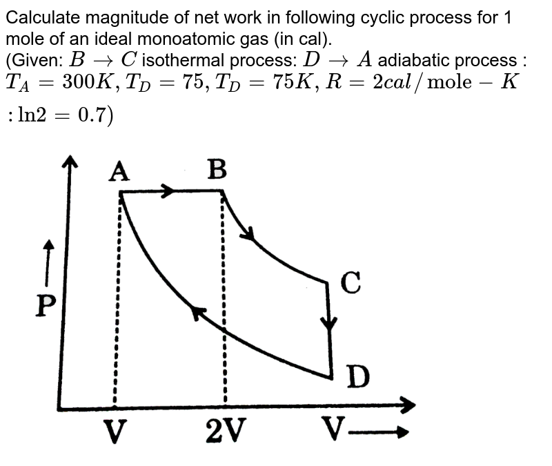 """Calculate magnitude of net work in following cyclic process for 1 mole of an ideal monoatomic gas (in cal). <br> (Given: `B rarr C` isothermal process: `D rarr A` adiabatic process : `T_(A) = 300 K, T_(D) = 75, T_(D) = 75 K, R = 2cal//""""mole""""-K: """"ln"""" 2 = 0.7)` <br> <img src=""""https://d10lpgp6xz60nq.cloudfront.net/physics_images/GRB_PHY_CHM_P2_V03_QB_C13_E01_431_Q01.png"""" width=""""80%"""">"""