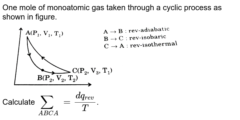 """One mole of monoatomic gas taken through a cyclic process as shown in figure.  <br> <img src=""""https://d10lpgp6xz60nq.cloudfront.net/physics_images/GRB_PHY_CHM_P2_V03_QB_C13_E01_432_Q01.png"""" width=""""80%""""> <br> Calculate `sum_(ABCA) = (dq_(rev))/(T)`."""