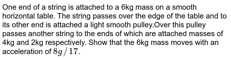 One end of a string is attached to a 6kg mass on a smooth horizontal table. The string passes over the edge of the table and to its other end is attached a light smooth pulley.Over this pulley passes another string to the ends of which are attached masses of 4kg and 2kg respectively. Show that the 6kg mass moves with an acceleration of `8g//17`.