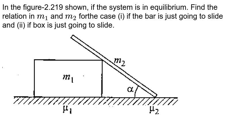 """In the figure-2.219 shown, if the system is in equilibrium. Find the relation in `m_(1)` and `m_(2)` forthe case (i) if the bar is just going to slide and (ii) if box is just going to slide.  <br> <img src=""""https://d10lpgp6xz60nq.cloudfront.net/physics_images/GAL_PHY_MEC_V01_C02_E01_301_Q01.png"""" width=""""80%"""">"""