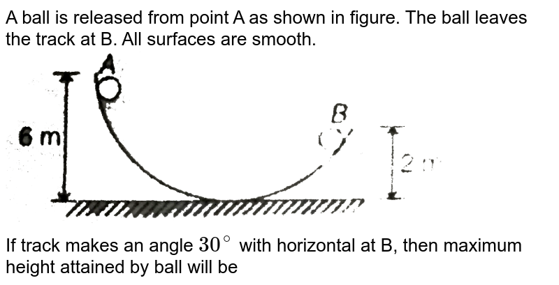 """A ball is released from point A as shown in figure. The ball leaves the track at B. All surfaces are smooth. <br> <img src=""""https://d10lpgp6xz60nq.cloudfront.net/physics_images/MPP_PHY_C05_E01_109_Q01.png"""" width=""""80%"""">  <br> If track makes an angle `30^(@)` with horizontal at B, then maximum height attained by ball will be"""