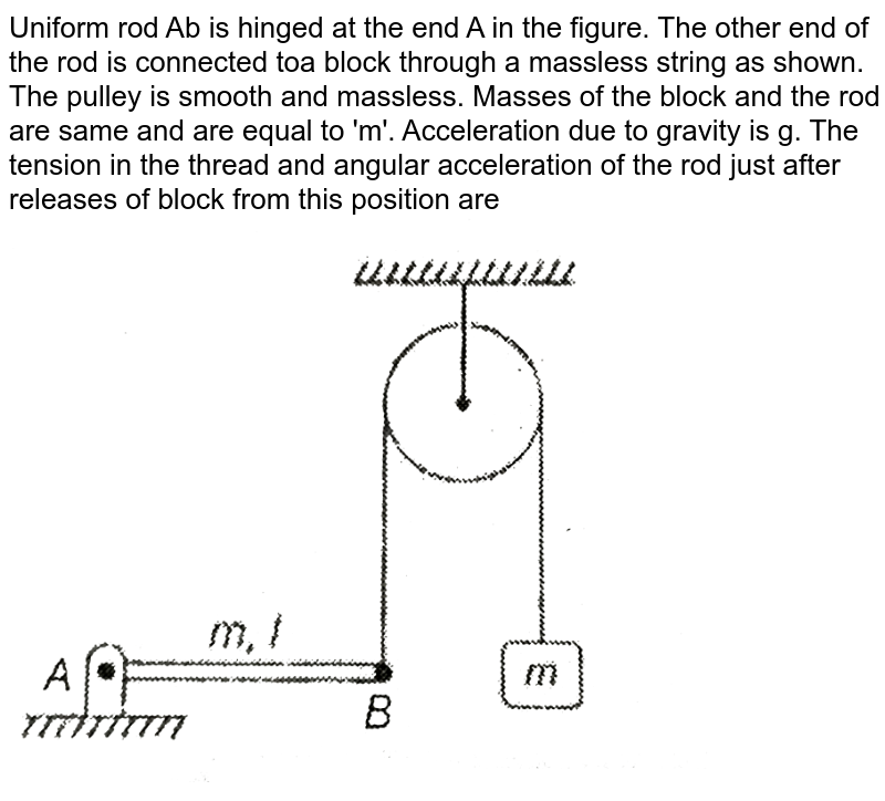 """Uniform rod Ab is hinged at the end A in the figure. The other end of the rod is connected toa block through a massless string as shown. The pulley is smooth and massless. Masses of the block and the rod are same and are equal to 'm'. Acceleration due to gravity is g. The tension in the thread and angular acceleration of the rod just after releases of block from this position are <br> <img src=""""https://d10lpgp6xz60nq.cloudfront.net/physics_images/MPP_PHY_C08_E01_123_Q01.png"""" width=""""80%"""">"""