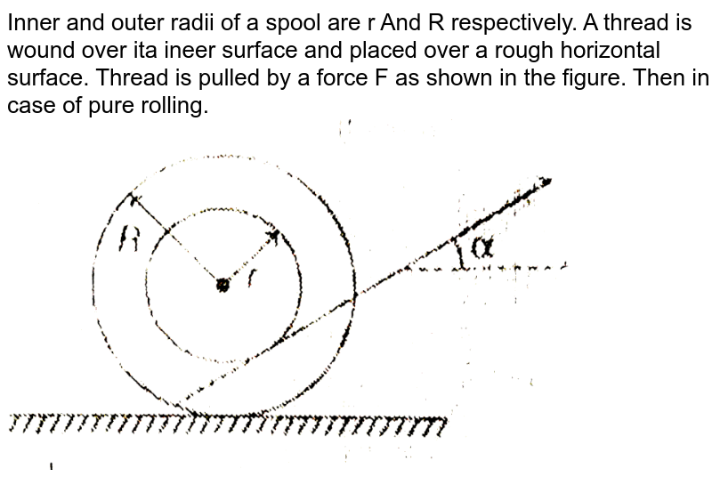 """Inner and outer radii of a spool are r And R respectively. A thread is wound over ita ineer surface and placed over a rough horizontal surface. Thread is pulled by a force F as shown in the figure. Then in case of pure rolling. <br> <img src=""""https://d10lpgp6xz60nq.cloudfront.net/physics_images/MPP_PHY_C08_E01_135_Q01.png"""" width=""""80%"""">"""