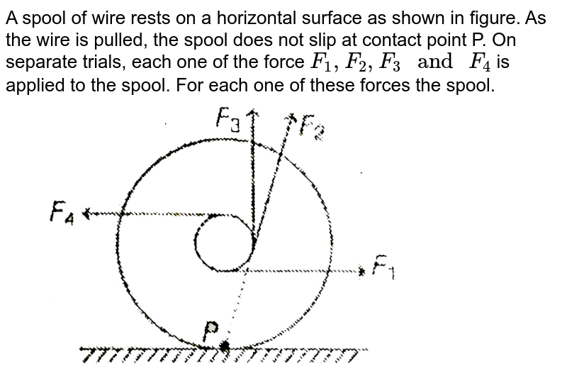 """A spool of wire rests on a horizontal surface as shown in figure. As the wire is pulled, the spool does not slip at contact point P. On separate trials, each one of the force `F_(1),F_(2),F_(3) """" and """" F_(4)` is applied to the spool. For each one of these forces the spool. <br> <img src=""""https://d10lpgp6xz60nq.cloudfront.net/physics_images/MPP_PHY_C08_E01_154_Q01.png"""" width=""""80%"""">"""