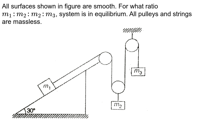 """All surfaces shown in figure are smooth. For what ratio `m_(1): m_(2):m_(2):m_(3)`, system is in equilibrium. All pulleys and strings are massless. <br> <img src=""""https://d10lpgp6xz60nq.cloudfront.net/physics_images/MPP_PHY_C04_E01_026_Q01.png"""" width=""""80%"""">"""