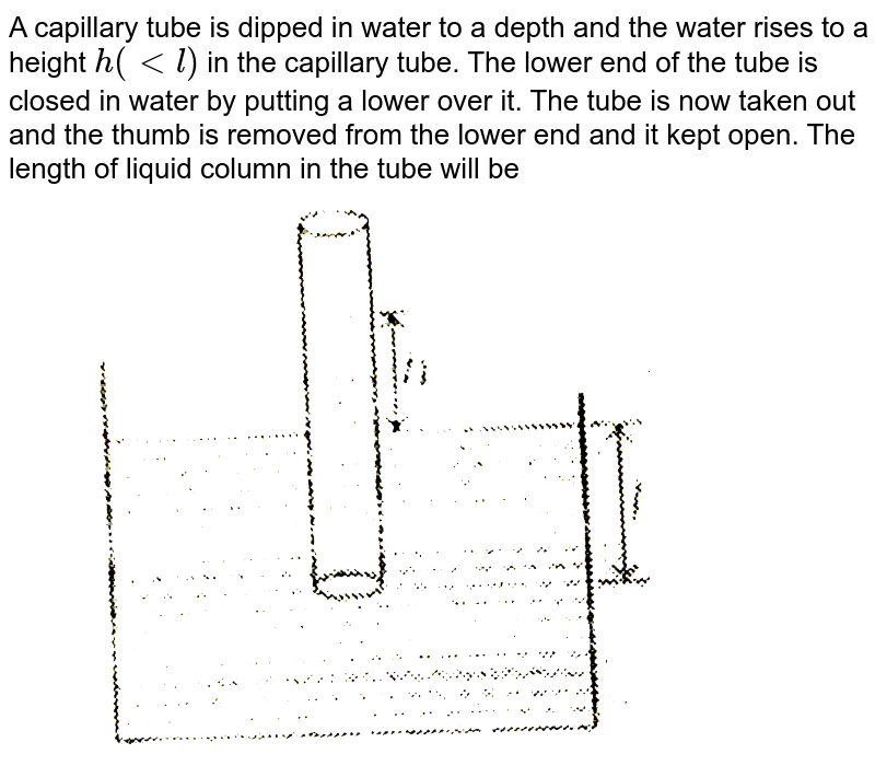 """A capillary tube is dipped in water to a depth and the water rises to a height `h( lt l)` in the capillary tube. The lower end of the tube is closed in water by putting a lower over it. The tube is now taken out and the thumb is removed from the lower end and it kept open. The length of liquid column in the tube will be  <br> <img src=""""https://d10lpgp6xz60nq.cloudfront.net/physics_images/MPP_PHY_C10_E01_112_Q01.png"""" width=""""80%"""">"""