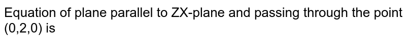 Equation of plane parallel to ZX-plane and passing through the point (0,2,0) is