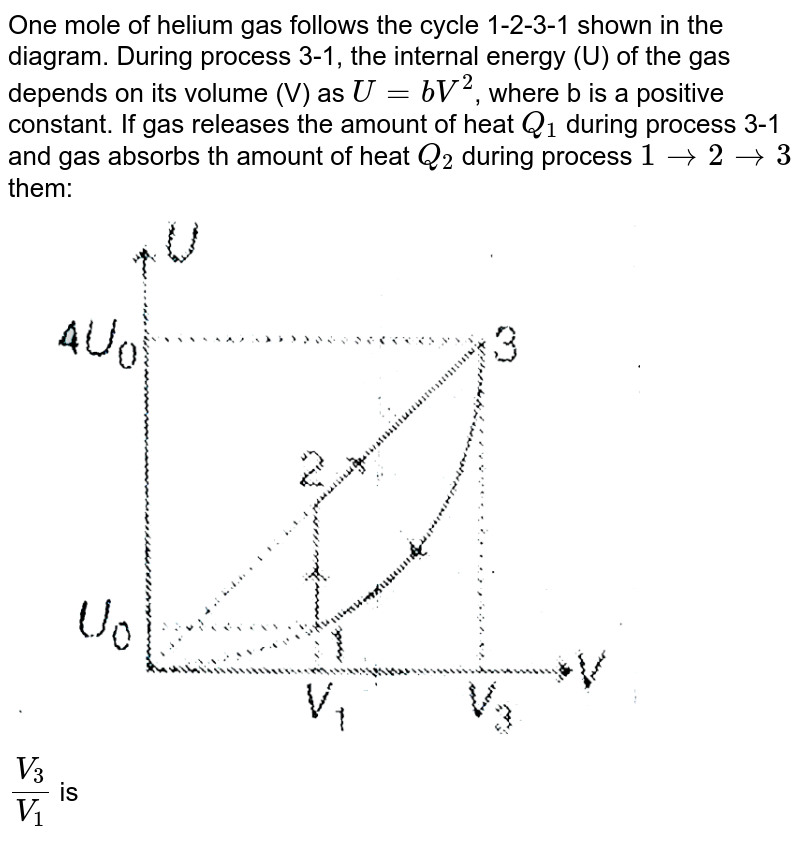 """One mole of helium gas follows the cycle 1-2-3-1 shown in the diagram. During process 3-1, the internal energy (U) of the gas depends on its volume (V) as `U=bV^(2)`, where b is a positive constant. If gas releases the amount of heat `Q_(1)` during process 3-1  and gas absorbs th amount of heat `Q_(2)` during process `1rarr2rarr3` them: <br> <img src=""""https://d10lpgp6xz60nq.cloudfront.net/physics_images/MPP_PHY_C13_E01_269_Q01.png"""" width=""""80%""""> <br> `(V_(3))/(V_(1))` is"""