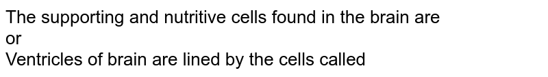 The supporting and nutritive cells found in the brain are <br> or <br> Ventricles of brain are lined by the cells called