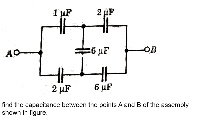 """<img src=""""https://d10lpgp6xz60nq.cloudfront.net/physics_images/SLA_NP_PHY_XII_C03_E01_036_Q01.png"""" width=""""80%""""> <br> find the capacitance between the points A and B of the assembly shown in figure."""